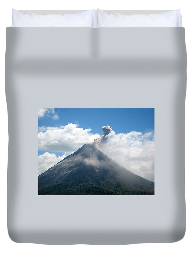 Volcano Duvet Cover featuring the photograph Arenal Eruption by Eric Tressler