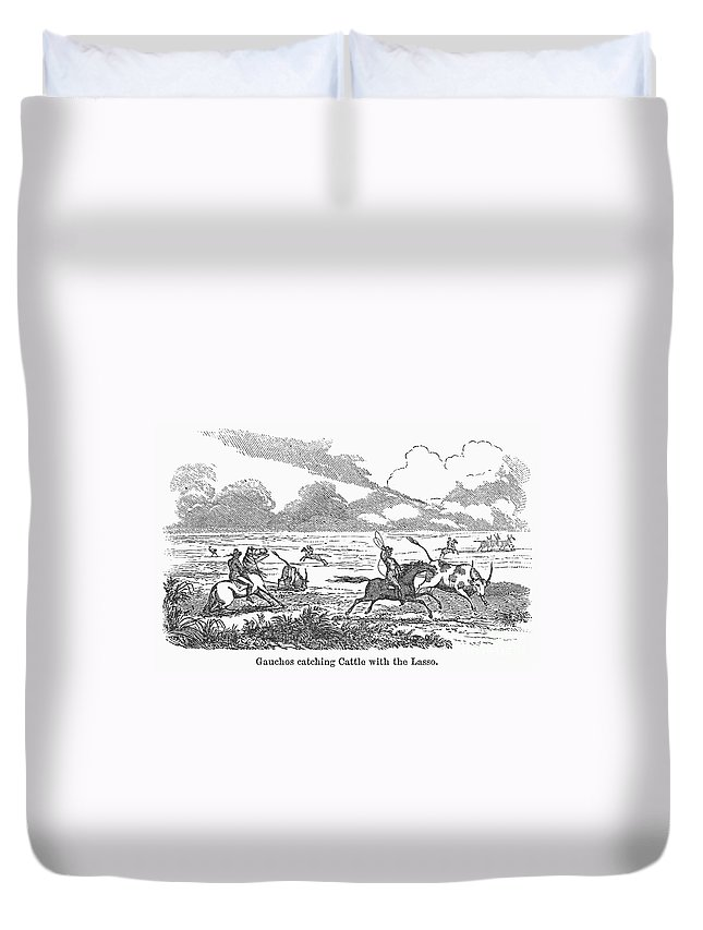 1853 Duvet Cover featuring the photograph Argentina: Gauchos, 1853 by Granger
