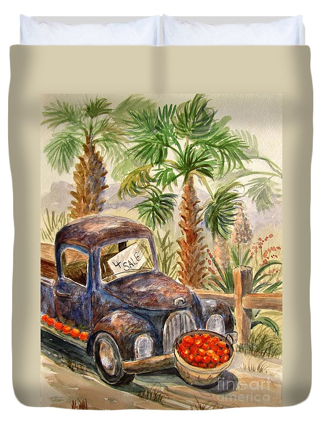 Old Truck Duvet Cover featuring the painting Arizona Sweets by Marilyn Smith