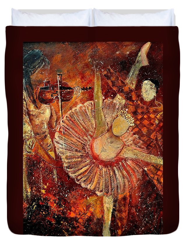 Dance Duvet Cover featuring the painting Arlequino And The Ballet Dancer by Pol Ledent
