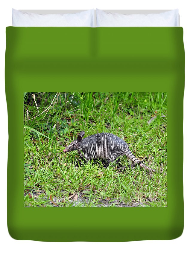 Armadillo Duvet Cover featuring the photograph Armored Armadillo 02 by Al Powell Photography USA