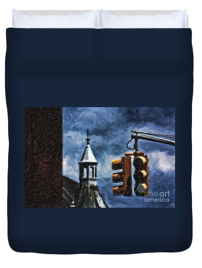 Traffic Lights Duvet Cover featuring the digital art Armory And The Lights by Nishanth Gopinathan