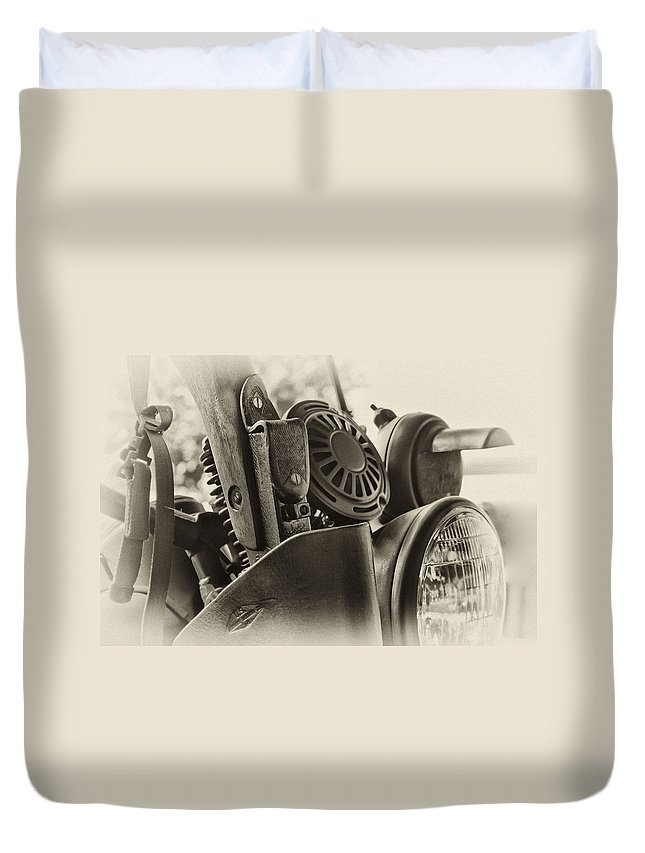 Army Duvet Cover featuring the photograph Army Motorcycle by Frank Morales Jr