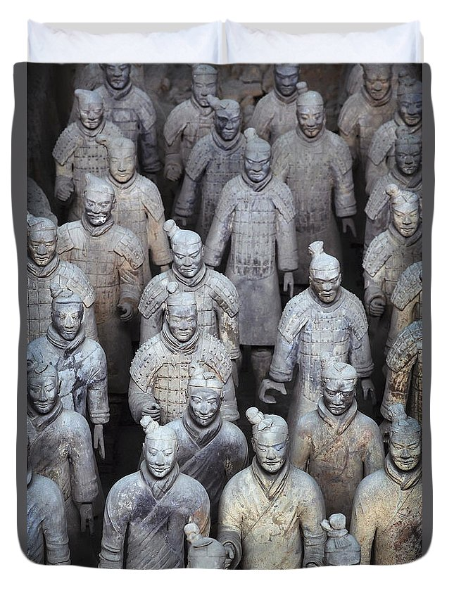 No People Duvet Cover featuring the photograph Army Of Terracotta Warriors In Xian by Axiom Photographic