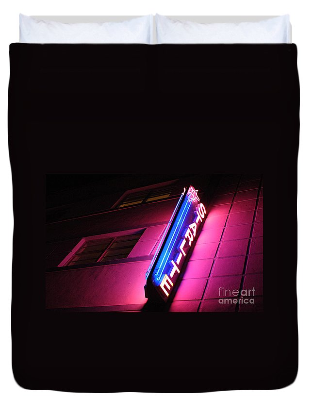 Neon Duvet Cover featuring the photograph Starlite Hotel Art Deco District Miami 4 by Bob Christopher