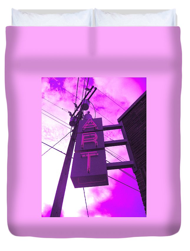 Purple Art Sign In The Clouds Duvet Cover featuring the photograph Art Sign by Kym Backland