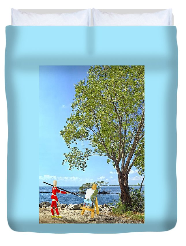Background Duvet Cover featuring the photograph Artist's Art by Rudy Umans