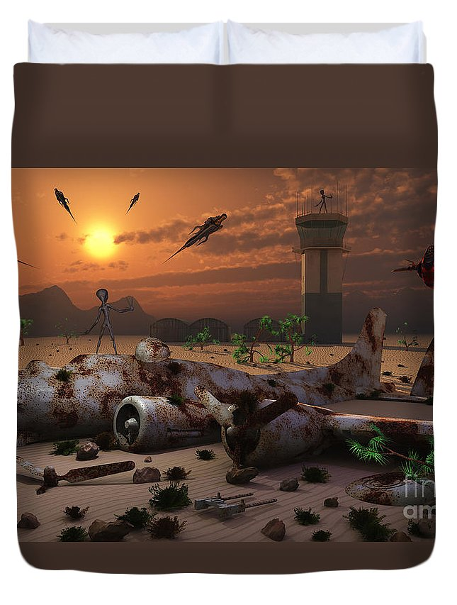 Imagination Duvet Cover featuring the digital art Artists Concept Of A Science Fiction by Mark Stevenson
