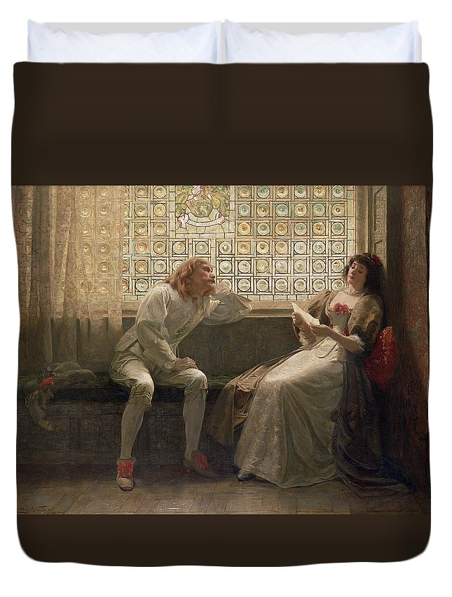 Male; Female; Lovers; Love Letter; Interior; Window Seat; Stained Glass; Lovestruck; Romantic Comedy; Curtain; Shoes; Costume; Corsage; Wistful Duvet Cover featuring the painting 'as You Like It' by Charles C Seton