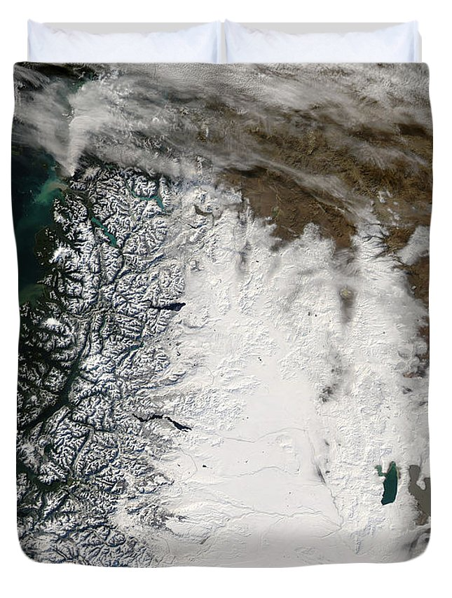 Argentina Duvet Cover featuring the photograph Ash Plume From Chaiten Volcano And Snow by Stocktrek Images