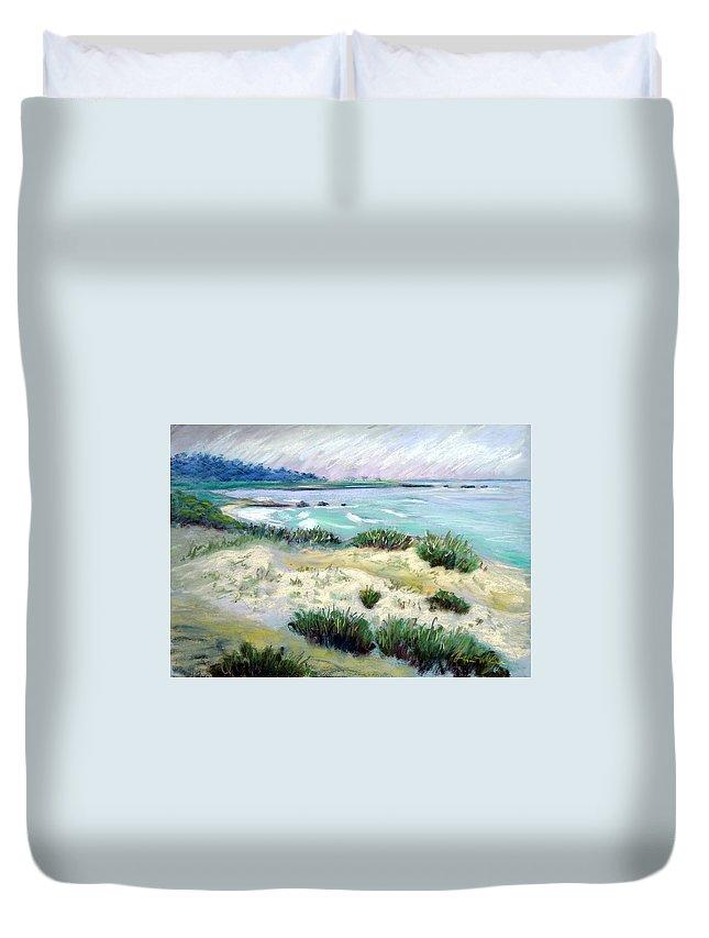 Pastel Seascape Duvet Cover featuring the painting Asilomar Beach by Karin Leonard
