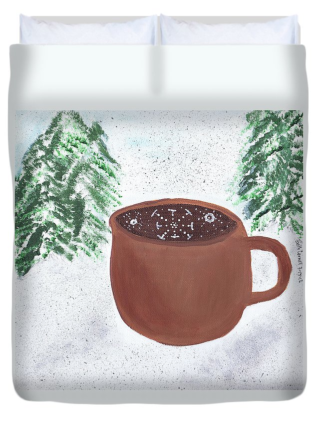 Winter Duvet Cover featuring the painting Aspen Cup by Beth Cornell