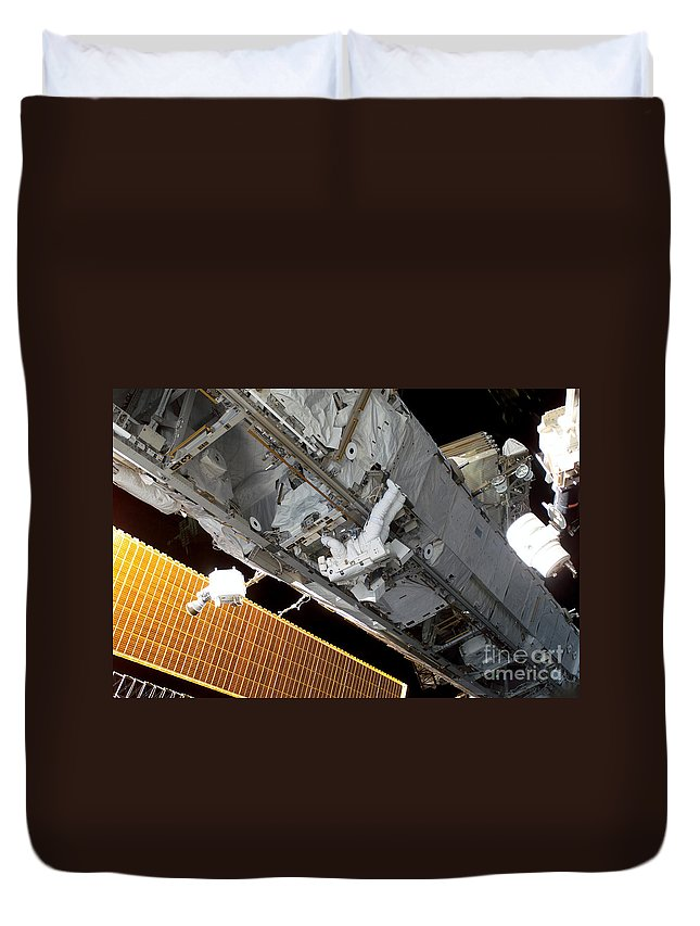 Adults Only Duvet Cover featuring the photograph Astronaut Traverses by Stocktrek Images