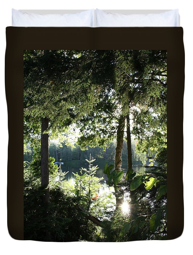 Woods Duvet Cover featuring the photograph At Home In The Woods by Pat Purdy