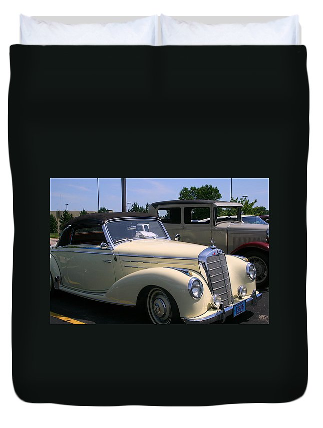 Beautiful.cream Duvet Cover featuring the photograph At The Car Show by Kay Novy