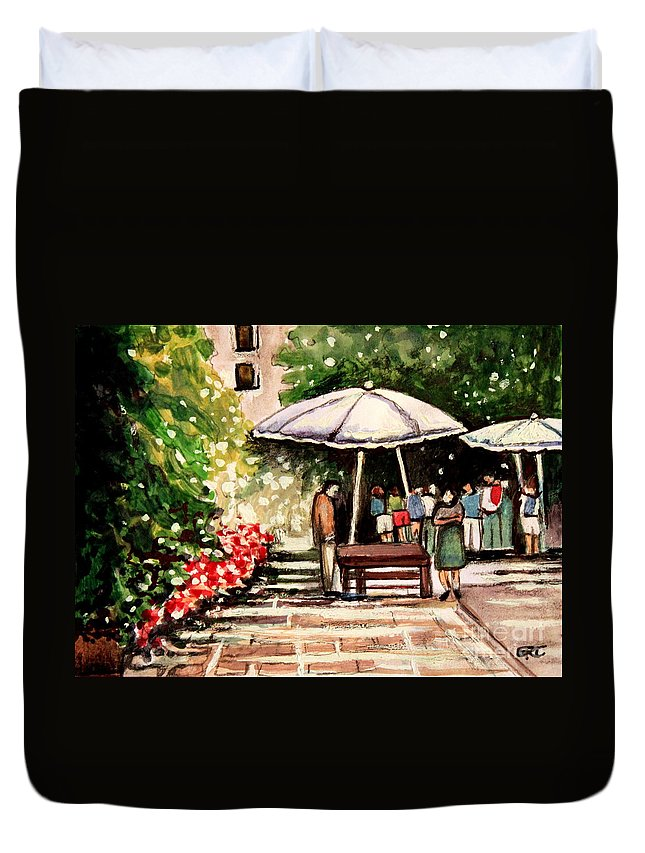 Impressionistic Duvet Cover featuring the painting At The Market by Elizabeth Robinette Tyndall