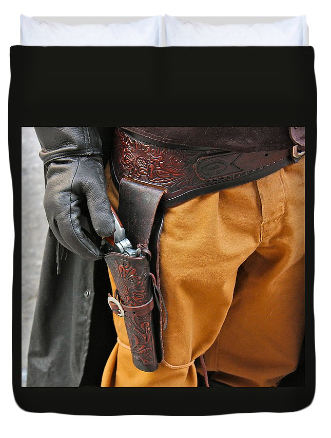 Gunfighter Photo Duvet Cover featuring the photograph At The Ready by Bill Owen