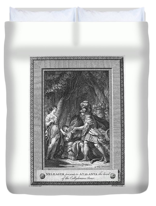 Ancient Duvet Cover featuring the photograph Atalanta And Meleager by Granger