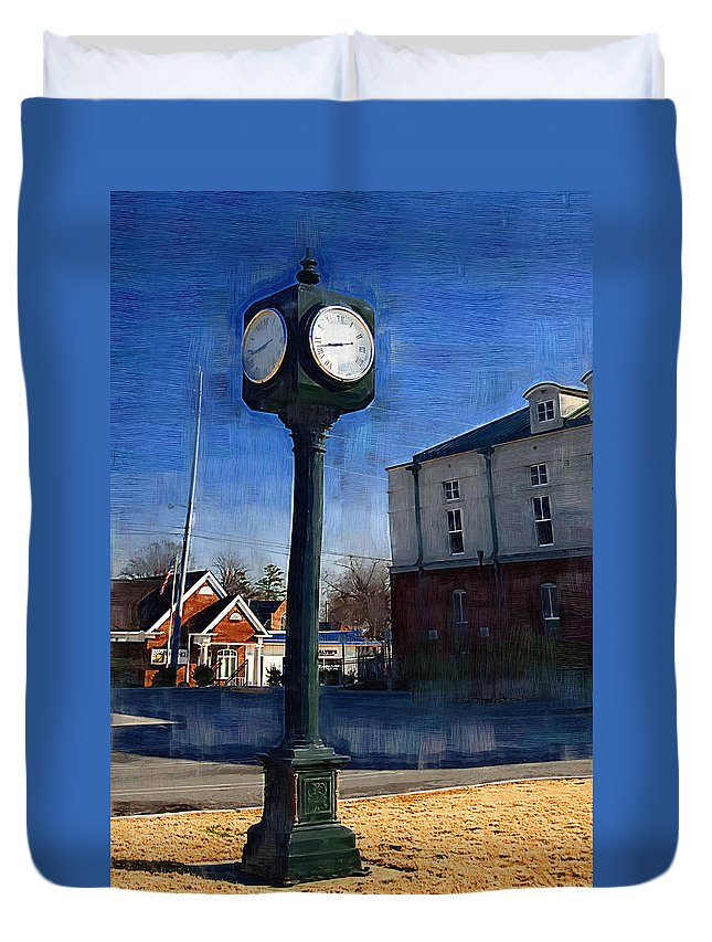 Clock Duvet Cover featuring the photograph Athens Alabama City Clock by Kathy Clark