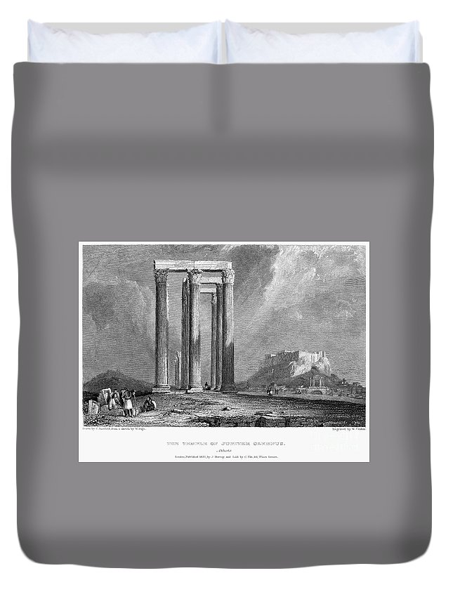 1832 Duvet Cover featuring the photograph Athens: Olympian Zeus by Granger