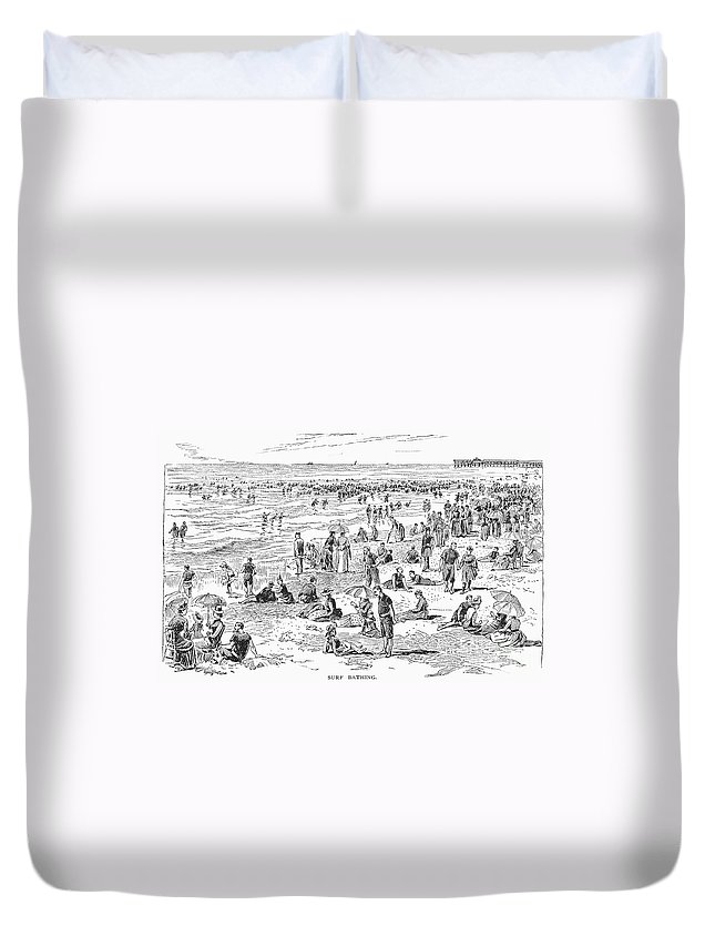 1890 Duvet Cover featuring the photograph Atlantic City, 1890 by Granger