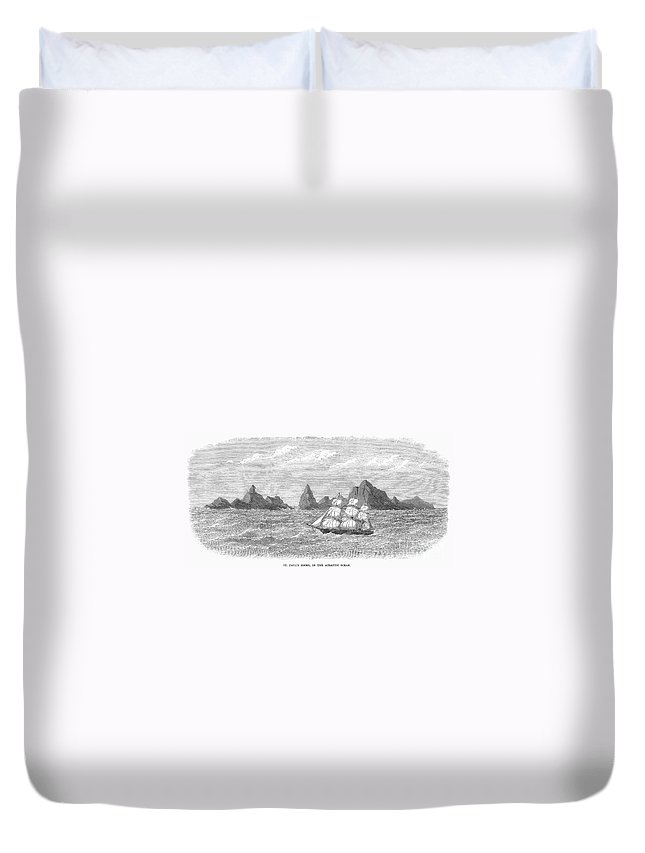 1869 Duvet Cover featuring the photograph Atlantic: St. Pauls Rocks by Granger