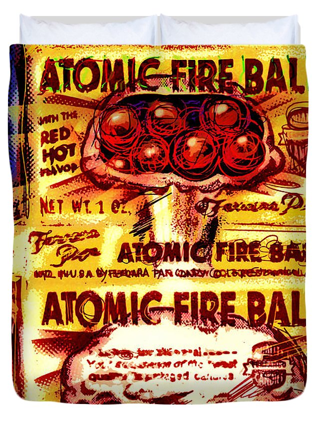 Atomic Duvet Cover featuring the mixed media Atomic Fire Ball by Russell Pierce