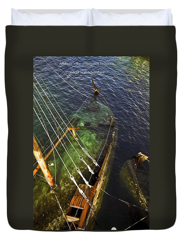 Stern Under Water Duvet Cover featuring the photograph Attitude Is The Difference by Sally Weigand