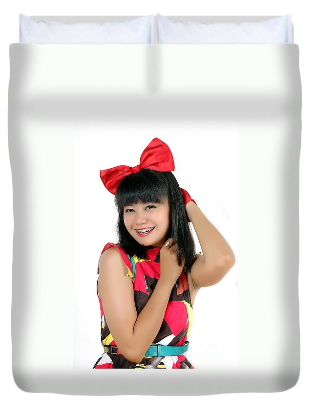 Asia Duvet Cover featuring the photograph Attractive Young Woman by Antoni Halim