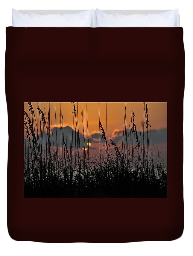 Fine Art Photography Duvet Cover featuring the photograph August Sunset by David Lee Thompson