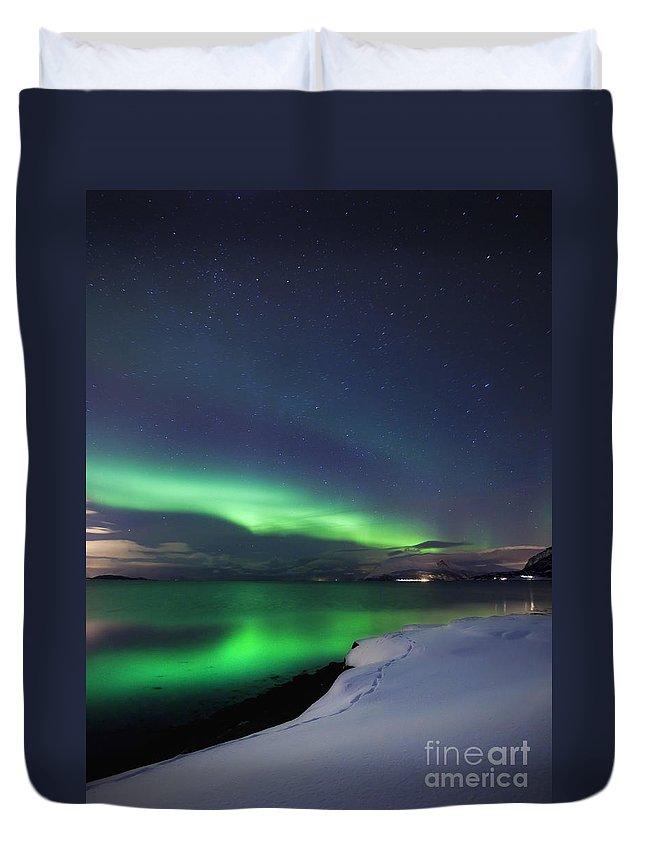 Aurora Borealis Duvet Cover featuring the photograph Aurora Borealis Over Vagsfjorden by Arild Heitmann