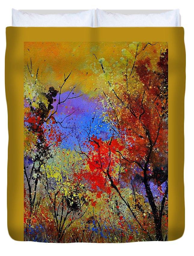 Landscape Duvet Cover featuring the painting Autumn 458963 by Pol Ledent