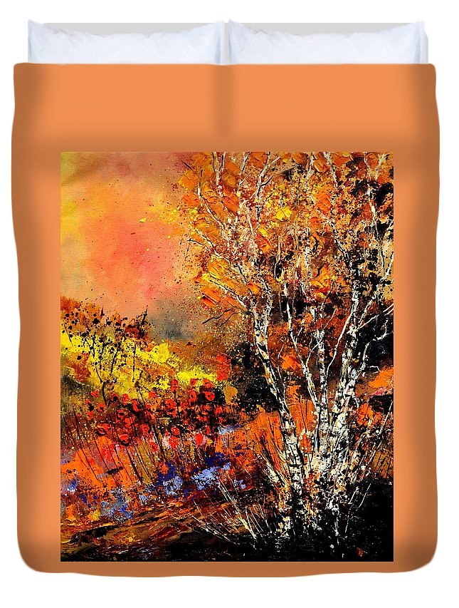 Landscape Duvet Cover featuring the painting Autumn 672180 by Pol Ledent