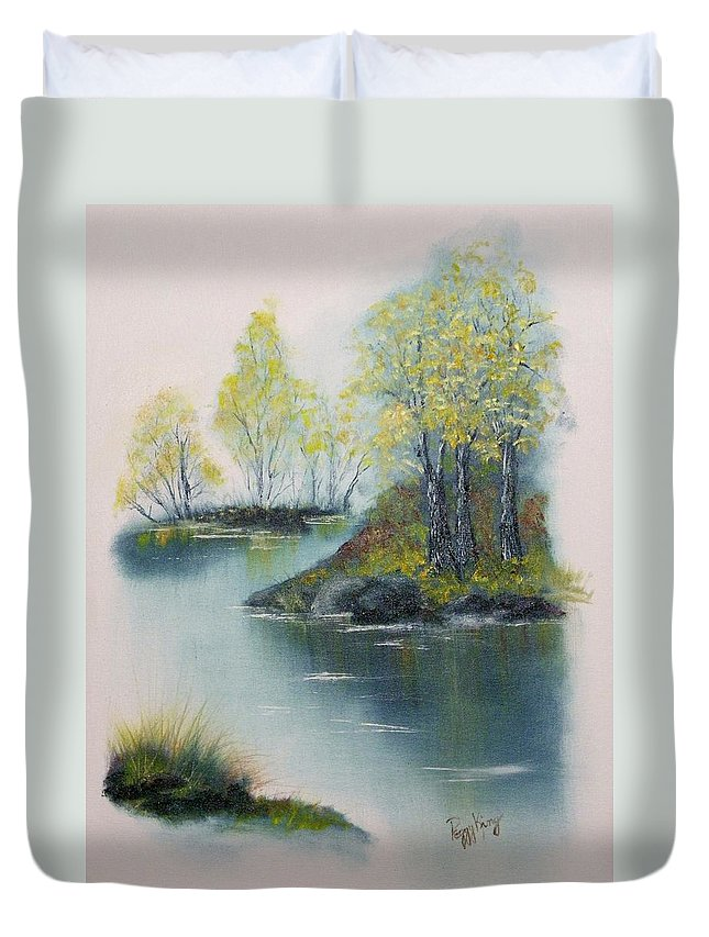 Landscape Duvet Cover featuring the painting Autumn Afternoon by Peggy King