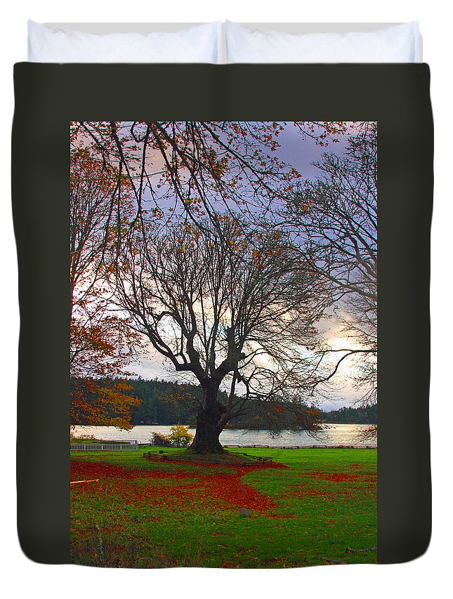British Camp Framed Prints Duvet Cover featuring the photograph Autumn At British Camp by Marie Jamieson