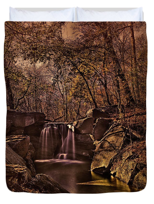 Waterfall Duvet Cover featuring the photograph Autumn At The Waterfall In The Ravine In Central Park by Chris Lord