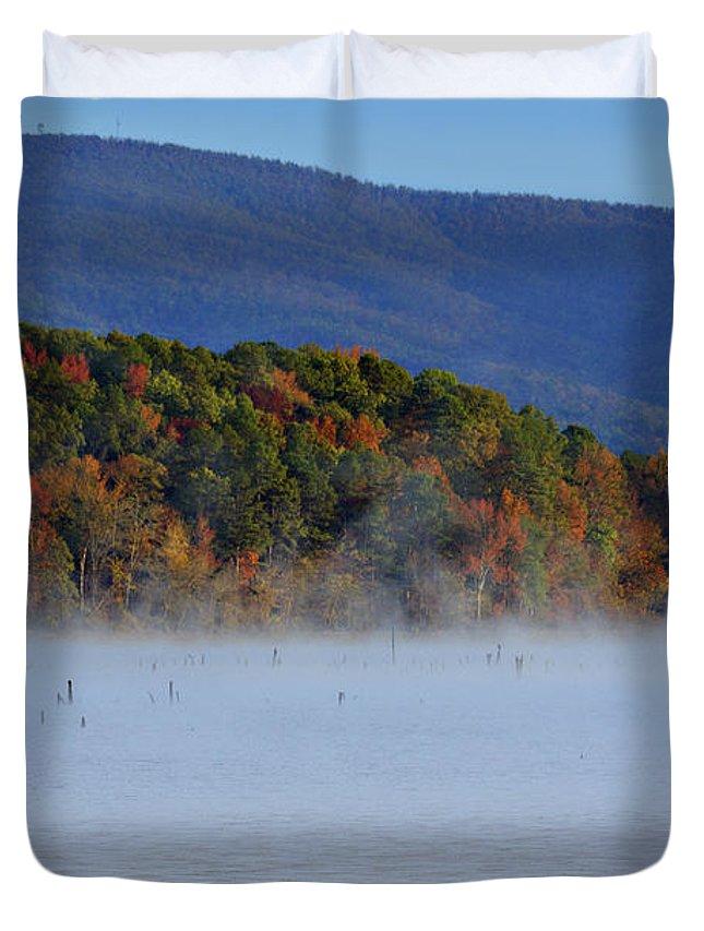 Autumn Duvet Cover featuring the photograph Autumn Backdrop by Douglas Barnard