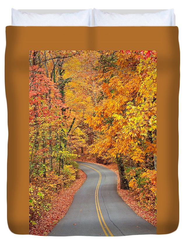 Fall Duvet Cover featuring the photograph Autumn Drive Signal Mountain by Tom and Pat Cory