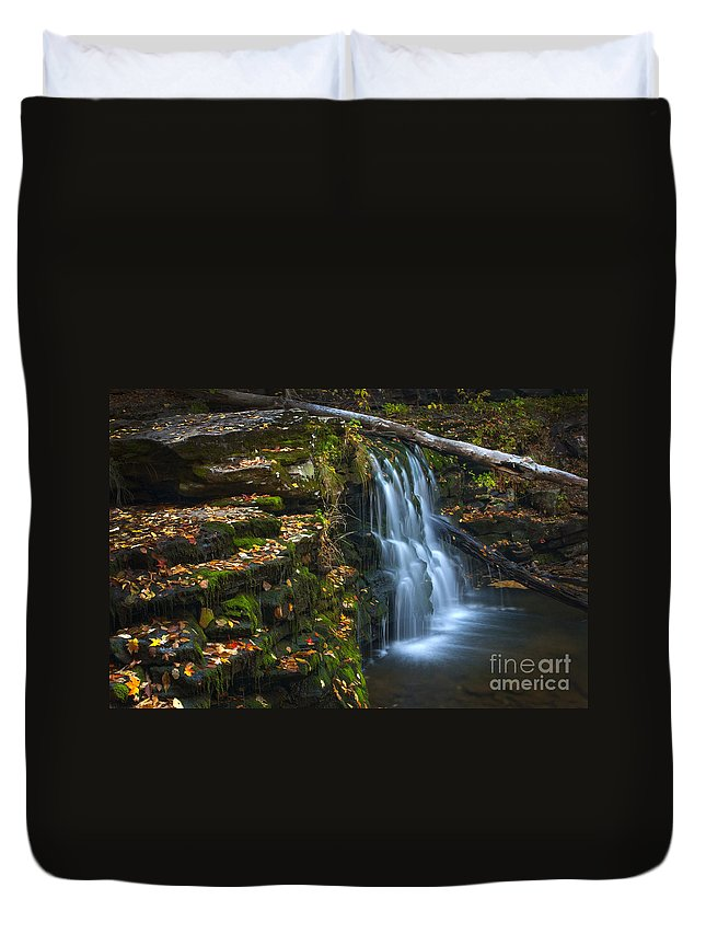 Ricketts Glen Duvet Cover featuring the photograph Autumn Falls - 08 by Paul W Faust - Impressions of Light