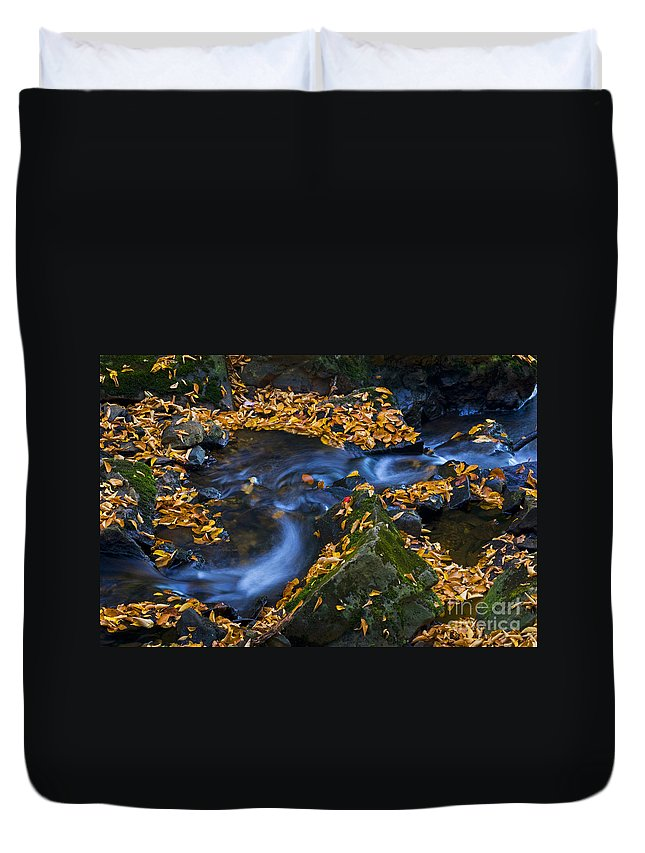 Ricketts Glen Duvet Cover featuring the photograph Autumn Falls - 40 by Paul W Faust - Impressions of Light