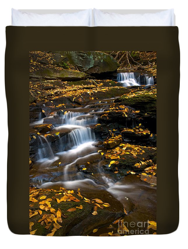 Ricketts Glen Duvet Cover featuring the photograph Autumn Falls - 72 by Paul W Faust - Impressions of Light