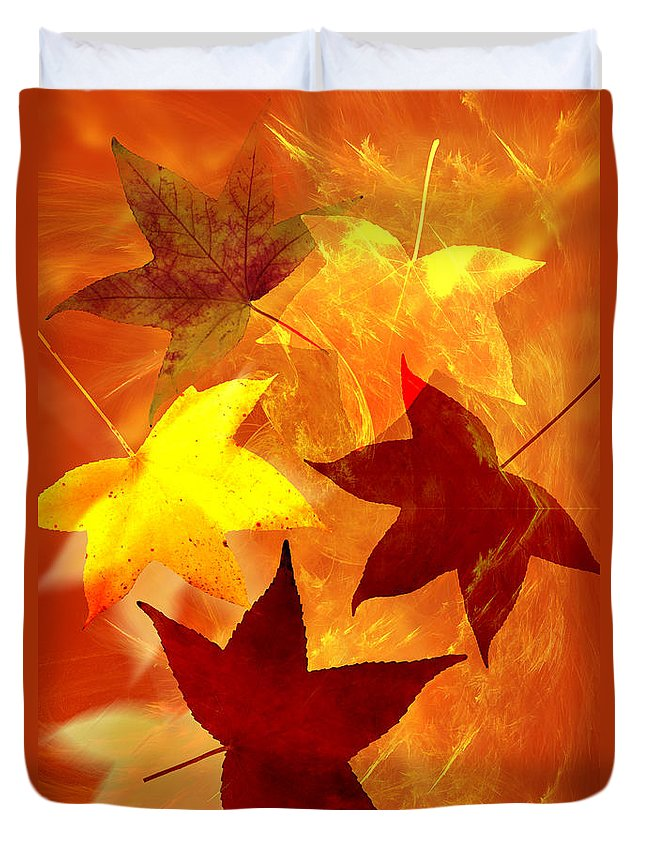 Abstract Duvet Cover featuring the digital art Autumn Leaves by Carol and Mike Werner