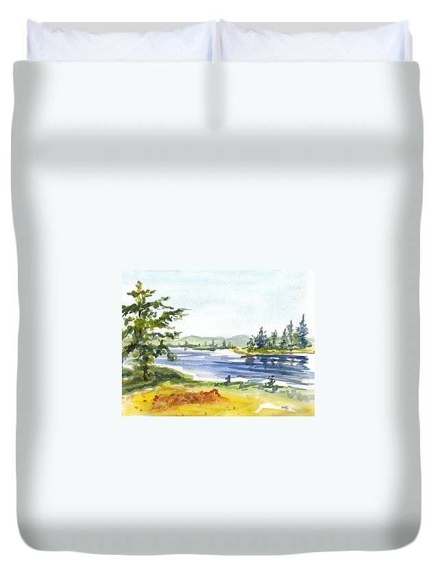 Trees Duvet Cover featuring the painting Autumn Stream by Clara Sue Beym