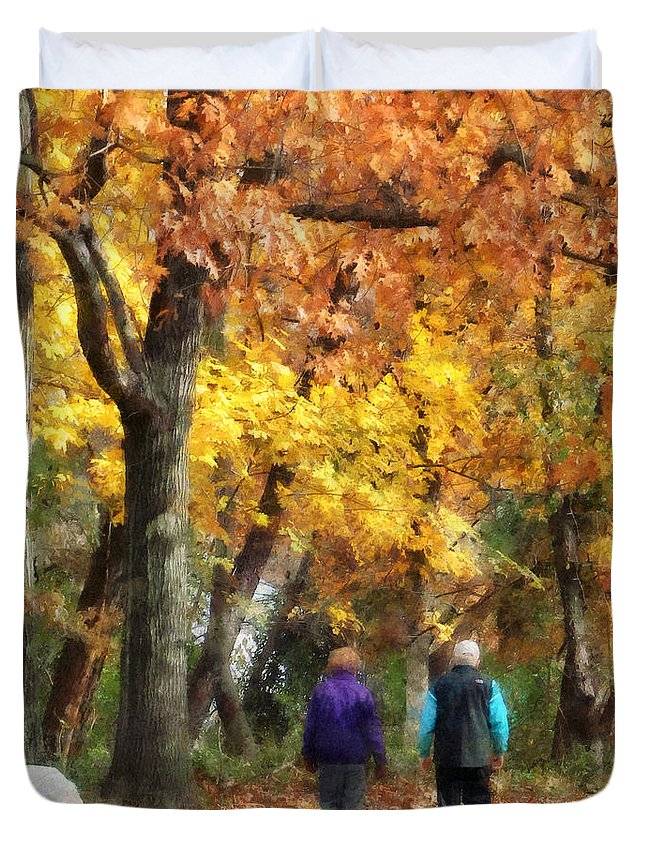 Couple Duvet Cover featuring the photograph Autumn Stroll by Susan Savad