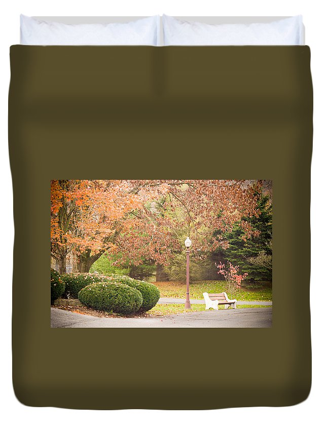 Bench Duvet Cover featuring the photograph Autumn Stroll by Trish Tritz