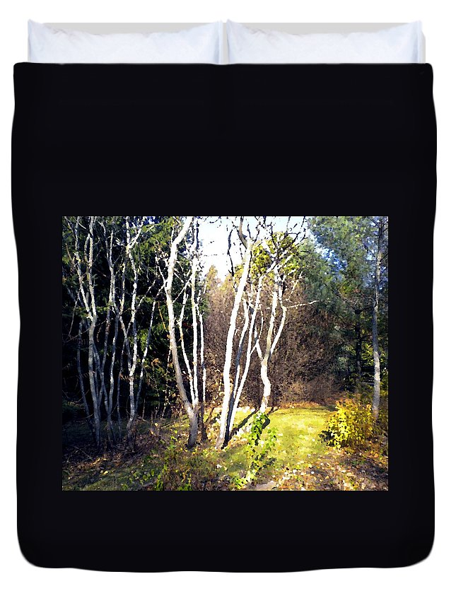Trees Duvet Cover featuring the painting Autumn Sumacs by Renate Nadi Wesley