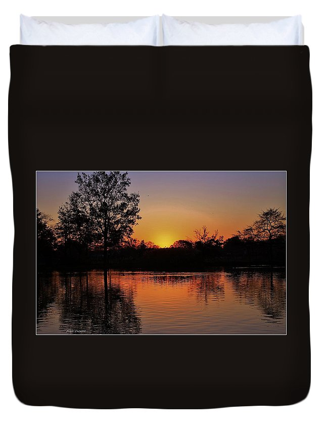 Sunset Duvet Cover featuring the photograph Autumn Sunset by Mikki Cucuzzo