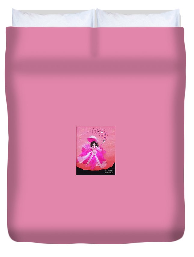 Survivor Duvet Cover featuring the painting Awareness by Alys Caviness-Gober