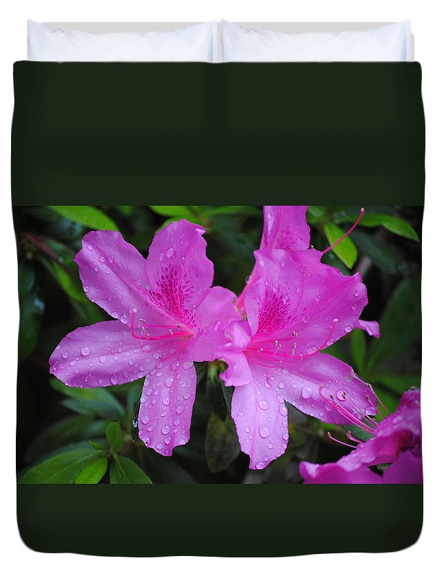 Flower Duvet Cover featuring the photograph Azalea's In Spring Rain #1 by Charlie Day