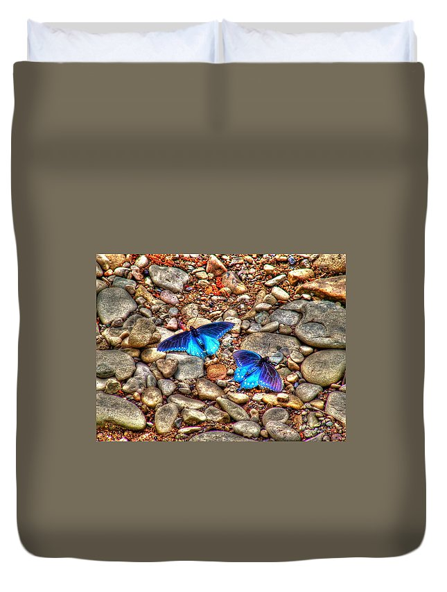 Butterflies Duvet Cover featuring the photograph Azul by Andrew Webb
